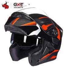 GXT Motorcycle Helmet Flip Up Motocross Helmets Men Full Face Moto Helmets Motorcycle Capacete Casco Moto With Doublel Lens DOT