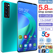 Rino6 pro 5.8 Inch 8+256GB 10 Core 4800mAh Andriod 10 Mobile Phone Face ID Smartphones Cellphones Dual SIM 13+24MP Andriod Phone