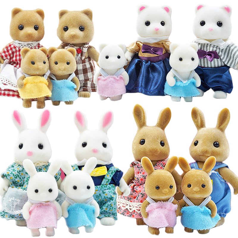Children's Simulation Forest Animal Family Rabbit Bear Panda Doll Girl Play House Doll Set