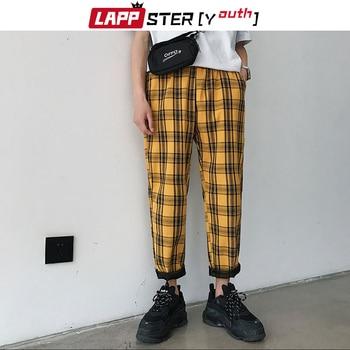 LAPPSTER-Youth Streetwear Black Plaid Pants Men Joggers 2020 Mens Straight Harem Pants Men Korean Hip Hop Trousers Plus Size 2