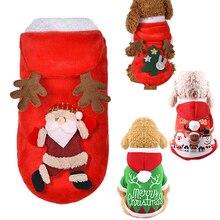 Рождественская Одежда для питомцев, собак, кошек, чихуахуа, йоркширского Санты, лося, костюм, комбинезоны, щенок, котенок, теплые толстовки, Рождественская одежда