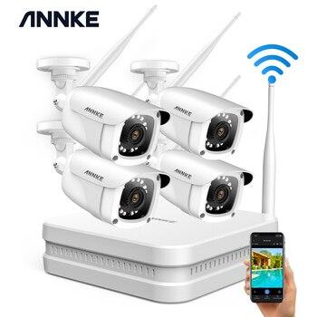 ANNKE 8CH 1080P FHD bezprzewodowy System bezpieczeństwa NVR z 4 sztuk 2MP Bullet zewnątrz odporne na warunki atmosferyczne IP WIFI kamery domu zestaw CCTV