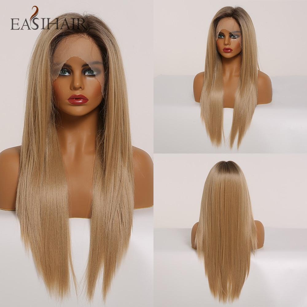 Perruques Lace Front synthétiques blondes longues | Perruques Lace Wig naturelles de haute densité résistantes à la chaleur pour femmes