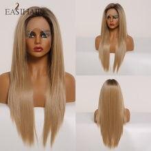 Perruque Lace Front Wig synthétique lisse Blonde haute densité, perruque naturelle résistante à la chaleur avec Baby Hair pour femmes