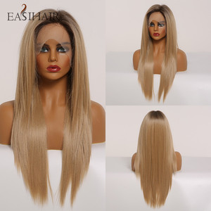 EASIHAIR Straight Blonde Lace Front Synthetic Wigs with Baby Hair Long Women's Lace Wigs High Density Natural Wig Heat Resistant