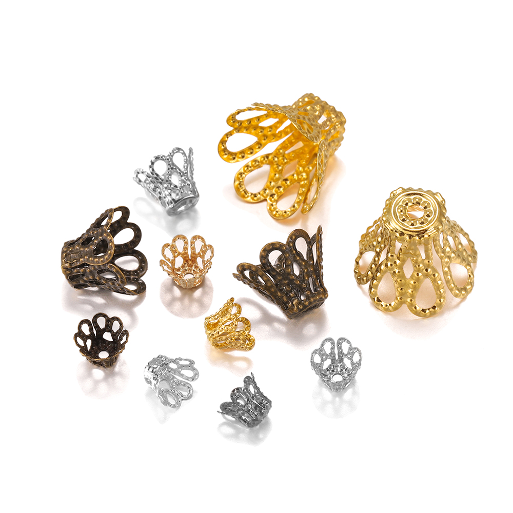 100pcs/lot Gold Silve Vintage Flowers Filigree Beads Caps Charms For Pendant Diy Jewelry Making Finding Supplies Accessories