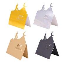 10pcs Eid Mubarak Card Mubarak Table Seating Cards Ramadan Anniversary Party Invitations Decoration Reception Table Cutting Card
