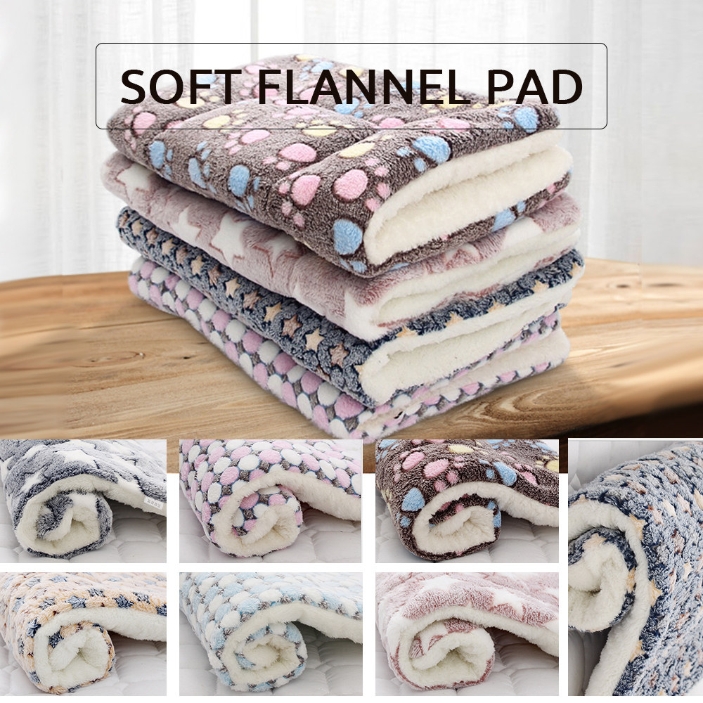 Thickened Pet Soft Fleece Pad Blanket Bed Mat For Puppy Dog Cat Sofa Cushion Home Washable Rug Keep Warm