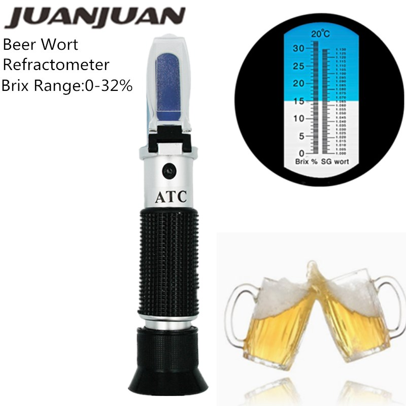 Beer Wort Refractometer Dual Scale - Specific Gravity 1.000-1.300 And Brix 0-32%, Replaces Homebrew Hydrometer 56%off