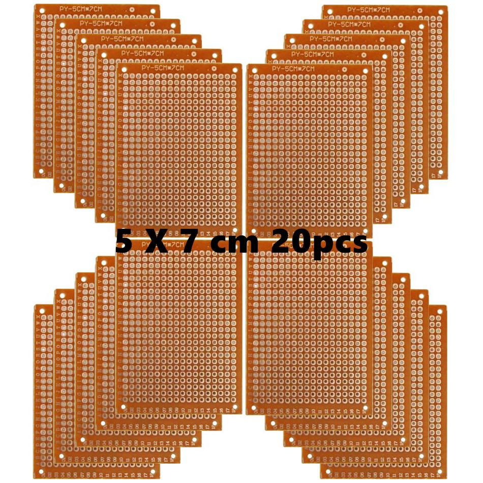 Copper Perfboard 20 PCS Paper Composite PCB Boards (5 Cm X 7 Cm) Universal Breadboard Single Sided Printed Circuit Board