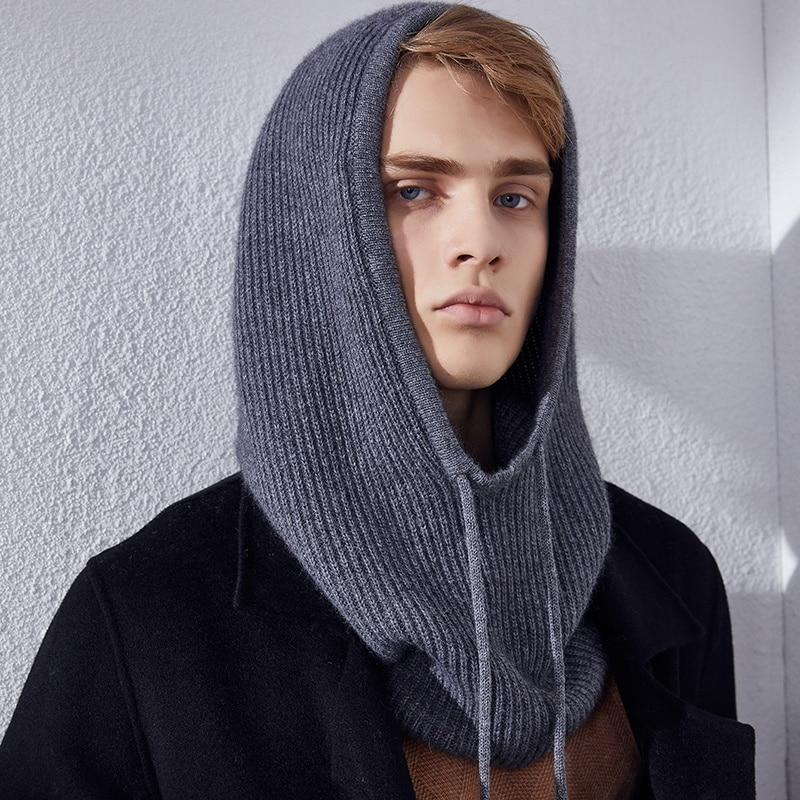 Fine Wool Knit Soft Hood Hat Scarf Elegant Hats Beanies Women Men Winter Neck Warm Balaclava Headgear Caps Unisex