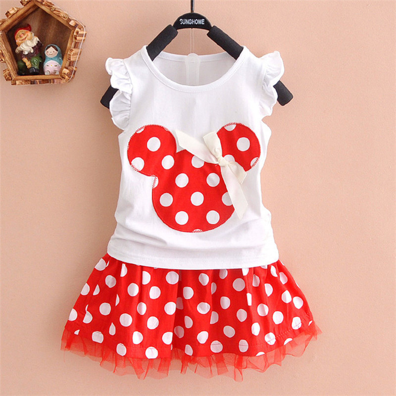New 2020T-shirt + Skirt Baby Child Suit 2 Pieces Fashion Girls Clothing Sets Minnie Children's Clothes Bowknot Shirt Dress 2-10