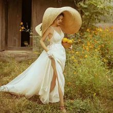 1.1 m, le plus gros chapeau fait à la main en paille! Casquette de soleil de mariage à bord de 45cm, chapeau de loisirs pour femmes, pour prendre des photos, ajouter du papier, maintenant