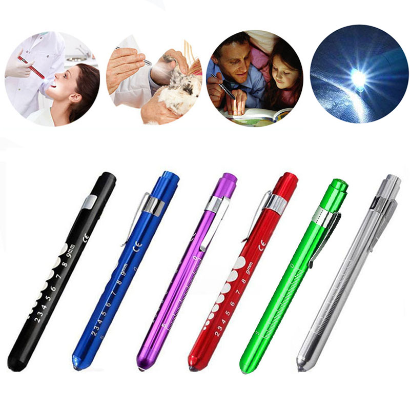 Reusable LED Flashlights Medical Pen Light With Pupil Gauge Measurements For Nurses Doctors Pocket Clip Flashlight Torach Lamp