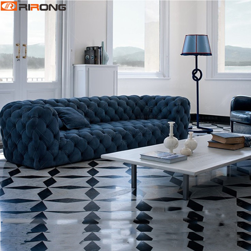 US $163.93 3% OFF|Spain Design Living Room Sofa set Velvet/Leather  chesterfield sofa salon couch Ornamental stitch Capito-in Living Room Sofas  from ...
