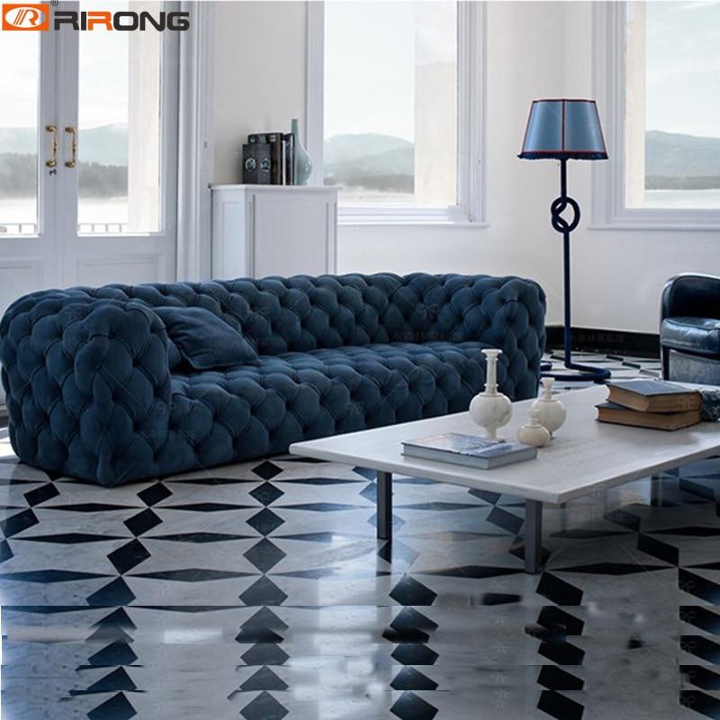 Spain Design Living Room Sofa Set Velvet/Leather Chesterfield Sofa Salon Couch Ornamental Stitch-Capito
