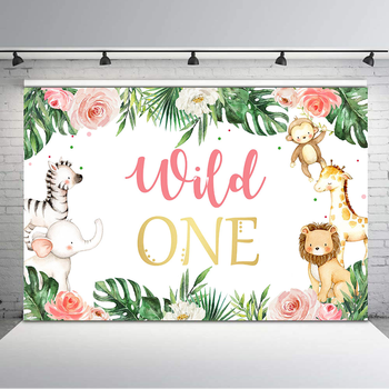 Wild One Baby Shower Backdrop 1st Birthday Photography Background Cute Animal Green Leaf Flower Birthday Party Banner Backdrops