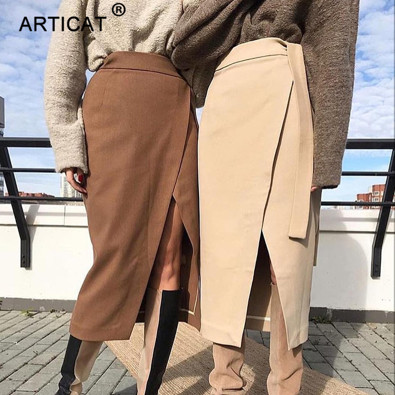 Articat Khaki Suede Leather Skirts Women 2019 High Waist Split Autumn Winter Wrap Bandage Skirts Casual Official Ladies Skirts