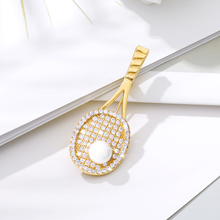 Creative Tennis Rack Brooch High Quality Zircon Pearl Pin Jewelry Sweater Shawl Coat Scarf Jewelry Simple Casual Wild Brooch hot sale korean brooch high end zircon flower scarf small brooch dual use fashion butterfly shape pin jewelry factory direct