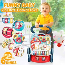 Baby Walker Multifunction Infant Stand-to-Sit Toddler 4 Wheels Trolley Kids Learning Walking Toddler Toys Piano Drawing Gifts