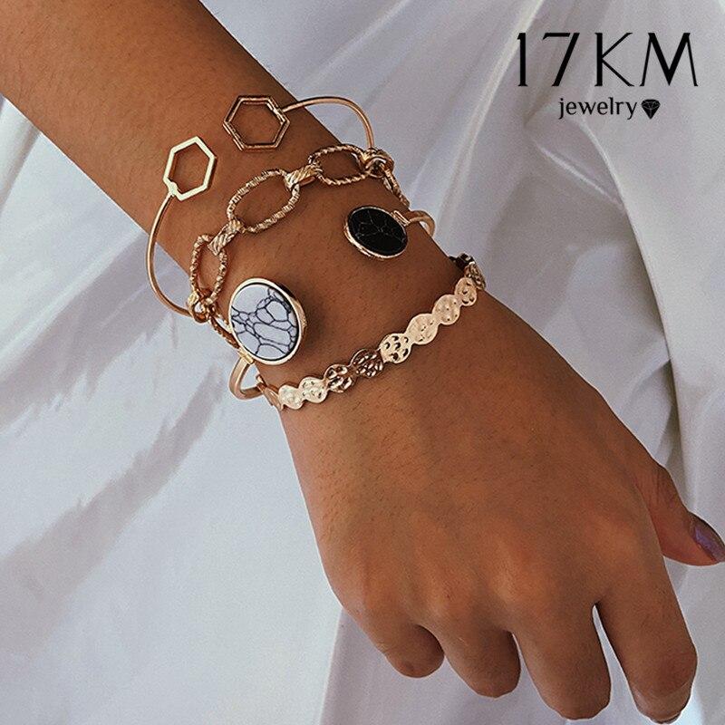 17KM Bohemian Gold Stone Chain Bracelets Set For Women Girls Fashion Geometric Knot Beads Bangles Bracelet Punk Jewelry
