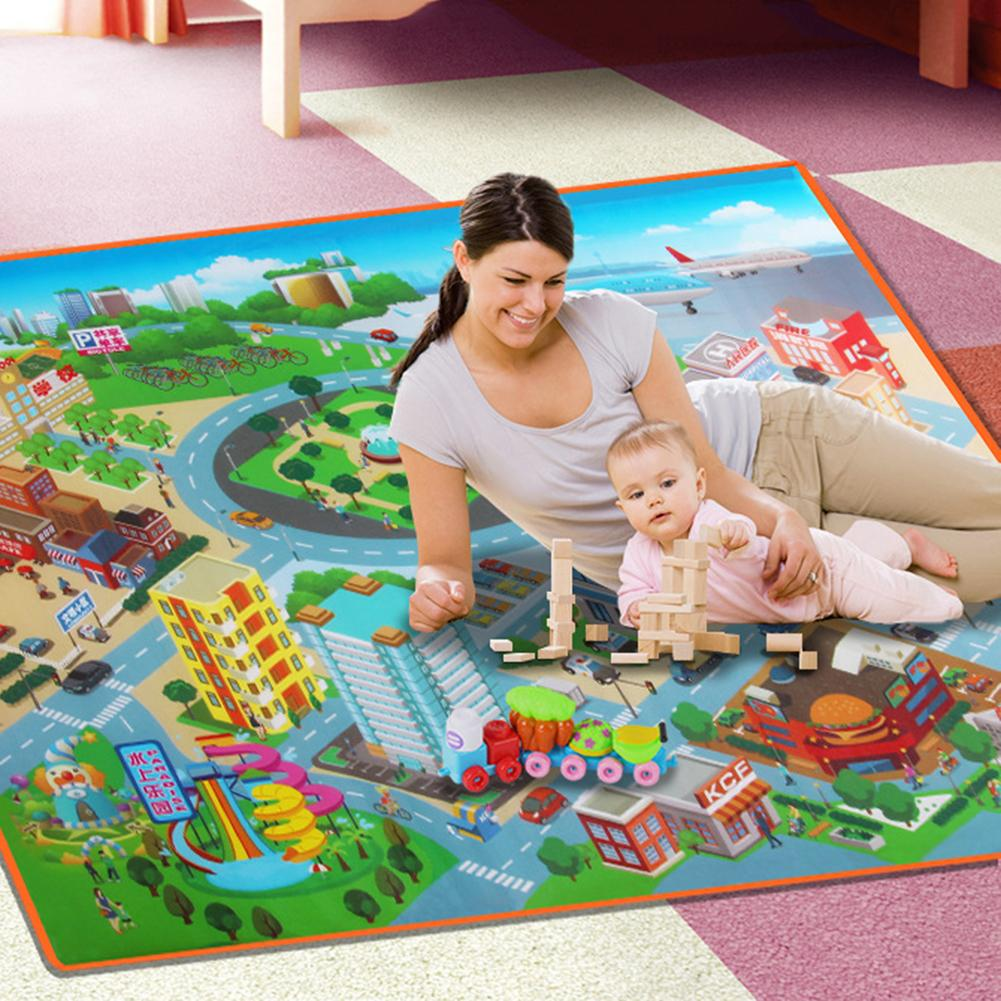Early Education Traffic Map Living Room Toddler Climbing Mat Children Learning Walking Props PE Film Cotton Material 120*90*0.4