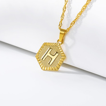 Letter H Necklace Gold Medal For Women Men BFF Stainless Steel Jewelry Initial A-Z Pendant Medalhas Para Colares