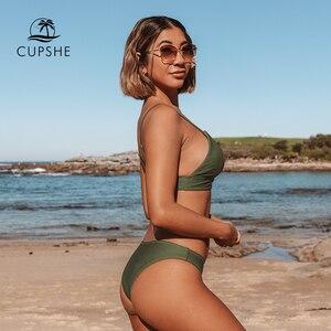 Image 3 - CUPSHE צבא ירוק מוצק ביקיני סט נשים משולש סקסי שתי חתיכות בגדי ים 2020 רגיל ילדה חוף בגד ים בגדי ים
