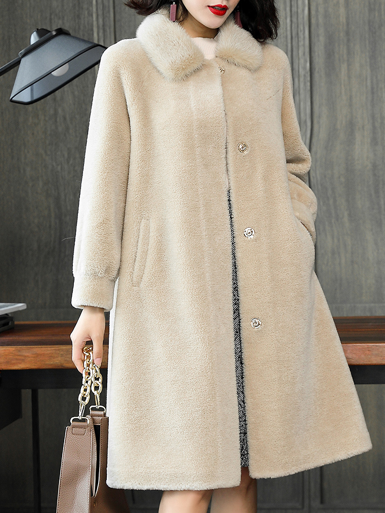 Shearling Sheep Real Fur Coat Winter Jacket Women Mink Fur Collar 100% Wool Coats And Jackets Women Korean Jacket MY3999 S S
