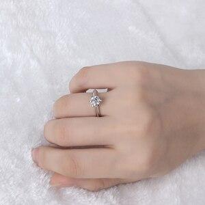 Image 4 - Starsgem תכשיט אופנה 18K זהב מצופה 925 כסף 6 טפרי 0.5/1ct F moissanite טבעת המחיר הטוב ביותר moissanite טבעת לנשים