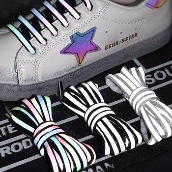 1 paire lacets réfléchissants Laser sequin lacet armure tressé bracelet baskets chaussures de course dentelle adulte enfants chaussures cordes