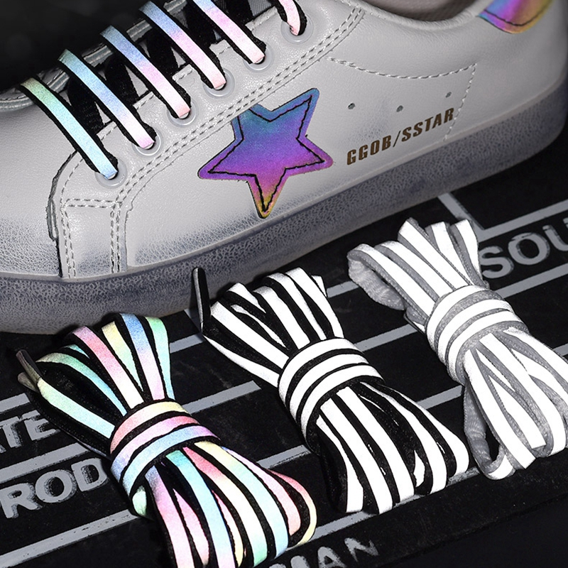1Pair Reflective Shoelaces Laser Sequin Shoelace Weave Braided Bracelet Sneakers Running Shoes Lace Adult Children Shoe Strings