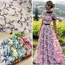 1yard fashion 7color 3D chiffon flower on netting embroidered bridal/ evinging/show dress lace fabric  Lace applique 130cm width