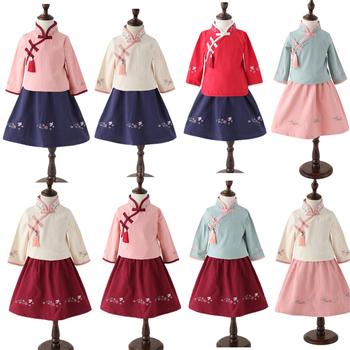 8 kolorów dziewczyny Cheongsam tradycyjny chiński styl satynowa sukienka nowy Hanfu dzieci moda Qipao Top + spódnica sukienki z długim rękawem tanie i dobre opinie COTTON Czesankowej Embroidery 90 100 110 120 130 140 8Color Top+Skirt Chinese dress Girls qipao Traditional Chinese Cheongsam