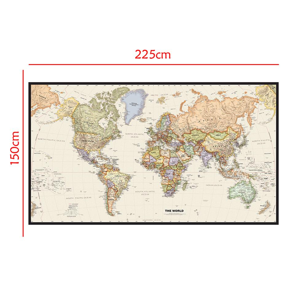 World Map Mercator Projection 150x225cm Non-woven Detailed Map Of Major Cities In Each Country Without Flag