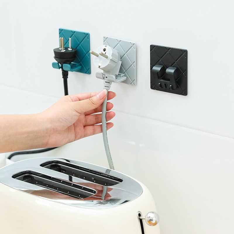 Colgador de cocina plegable soporte para el enchufe organizador enchufe cable de alimentación estante de almacenamiento soporte de estante montado en la pared adhesivo gancho adhesivo