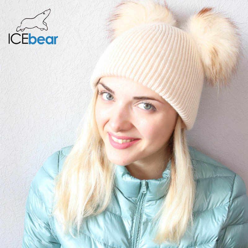 Icebear 부드러운 여성의 겨울 모자 더블 리얼 모피 pompom beanies 따뜻한 귀여운 여자 모자 새로운 도착 E-MX18118Q