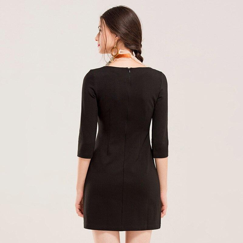 Yigelila2019 Herbst Neue Stil Schwarz Und Weiß mit Muster Quadrat Kragen Drei viertel länge Hülse Taille Umarmt Kleid 61362 - 2