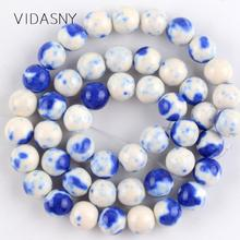 Natural Blue White Spotted Rain Flower Stone Beads For Jewelry Making 4 6 8 10 12mm Round Loose Diy Bracelet Necklace 15