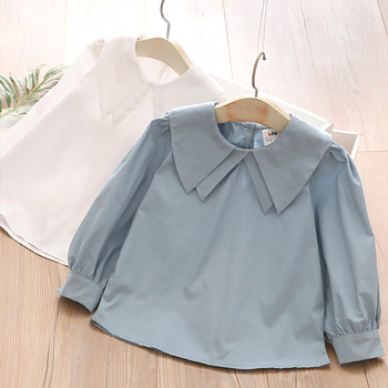 2019 Spring Autumn 2 3 4 6 8 10 Years Children Clothing Cotton Long Puff Sleeve Solid Color Kids Loose Blouses Shirts For Girls spring fall teenager long sleeve shirts fashion 2019 kids girls plaid blouses cotton lace tops for baby girl children clothing
