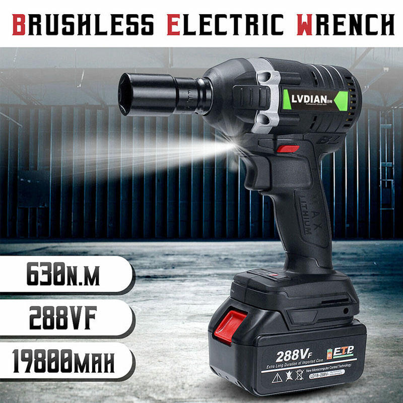 Dreamburgh New 630N.m Electric Cordless Wrench Brushless Impact Wrench 3000rpm Ratchet Driver 288VF Li-ion Battery Power Tools