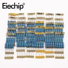 150 Uds 2W 1/2W 1% resistencia de película de Metal 30 valor de juego de Resistores 0,1 Ohm -750 Ohm 1K-820K resistencia de DIY Kit de surtido de