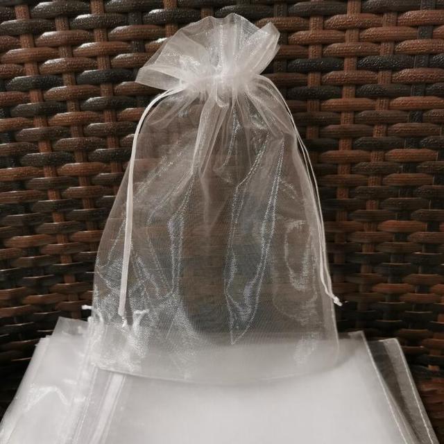 100pcs/lot 5x7 9x12 17x23 25x35 30x40 cm Big White Organza Bags Drawstring Pouch For Jewelry Beads Wedding Gift Packaging Bag 3