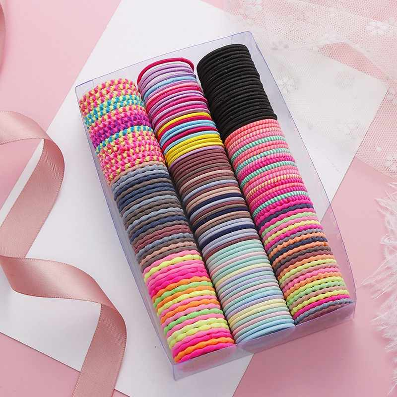 Girls 50 Pieces Of 3 Cm Rubber Band Children Tie Hair Colorful Hair Accessories Elastic Hair Bands Rubber Fashion Solid#35