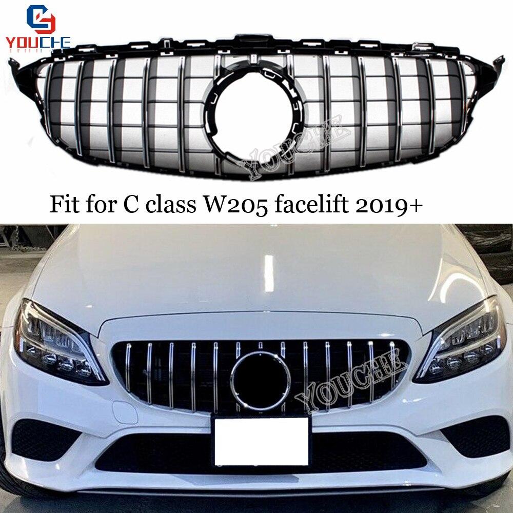 Por W205 C250 C300 Negro 2019 GT R Estilo AMG parrilla de la parrilla del parachoques delantero parrilla delantera del coche