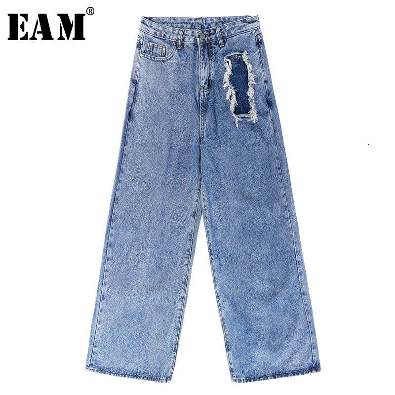 [EAM] Holes Burr Split Long Leisure Wide Leg Jeans New High Waist Loose Women Trousers Fashion Tide Spring Autumn 2019 1K918