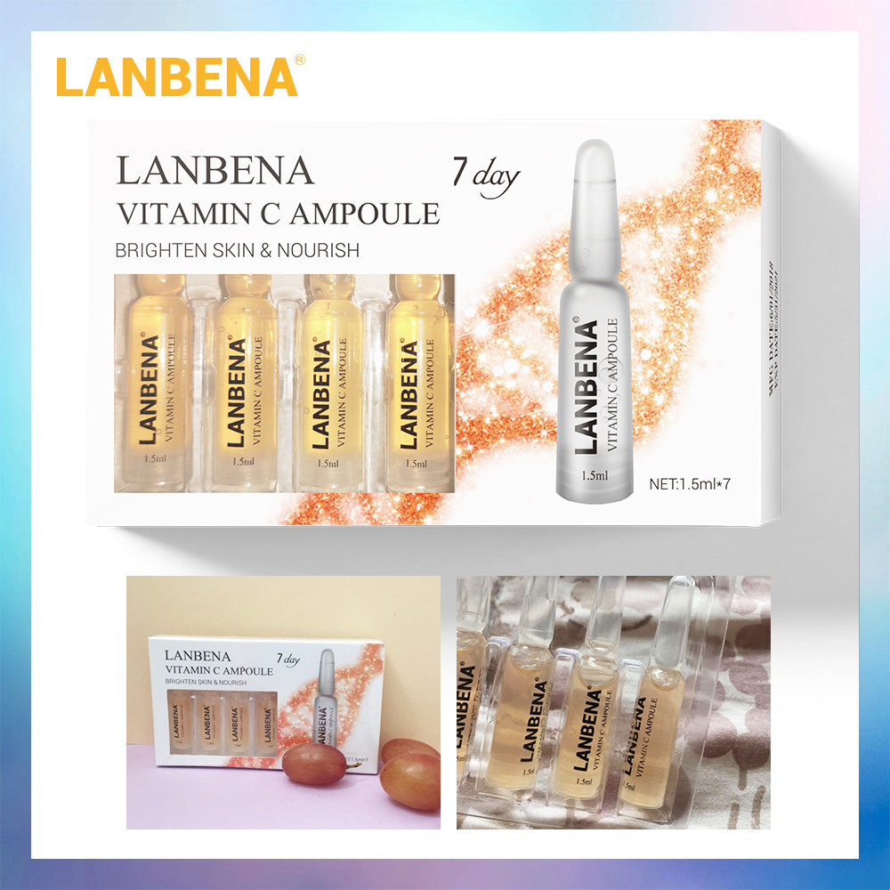 LANBENA Vitamin C Ampoule Serum Whitening Remover Freckle Speckle Fade Dark Spots Moisturizing Anti-Aging Nourishing For 7 Days