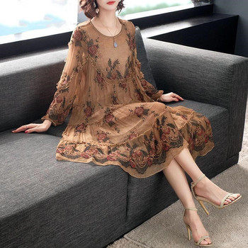 Oversized Plus Size Large L-5xl 2020 Spring Fashion Summer Chiffon Dress Female Women Loose Imitation Mulberry Silk Floral