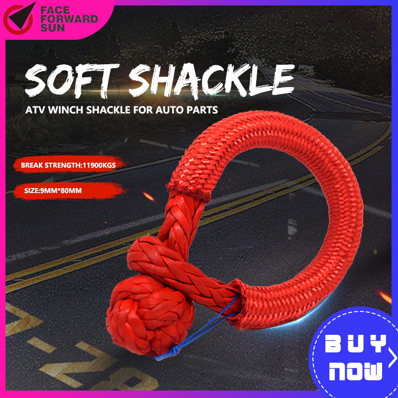 2pcs Red 9mm*80mm UHMWPE Soft Shackles,ATV Winch Shackle For Auto Parts,Synthetic Winch Cable,Kevlar Rope Shackle