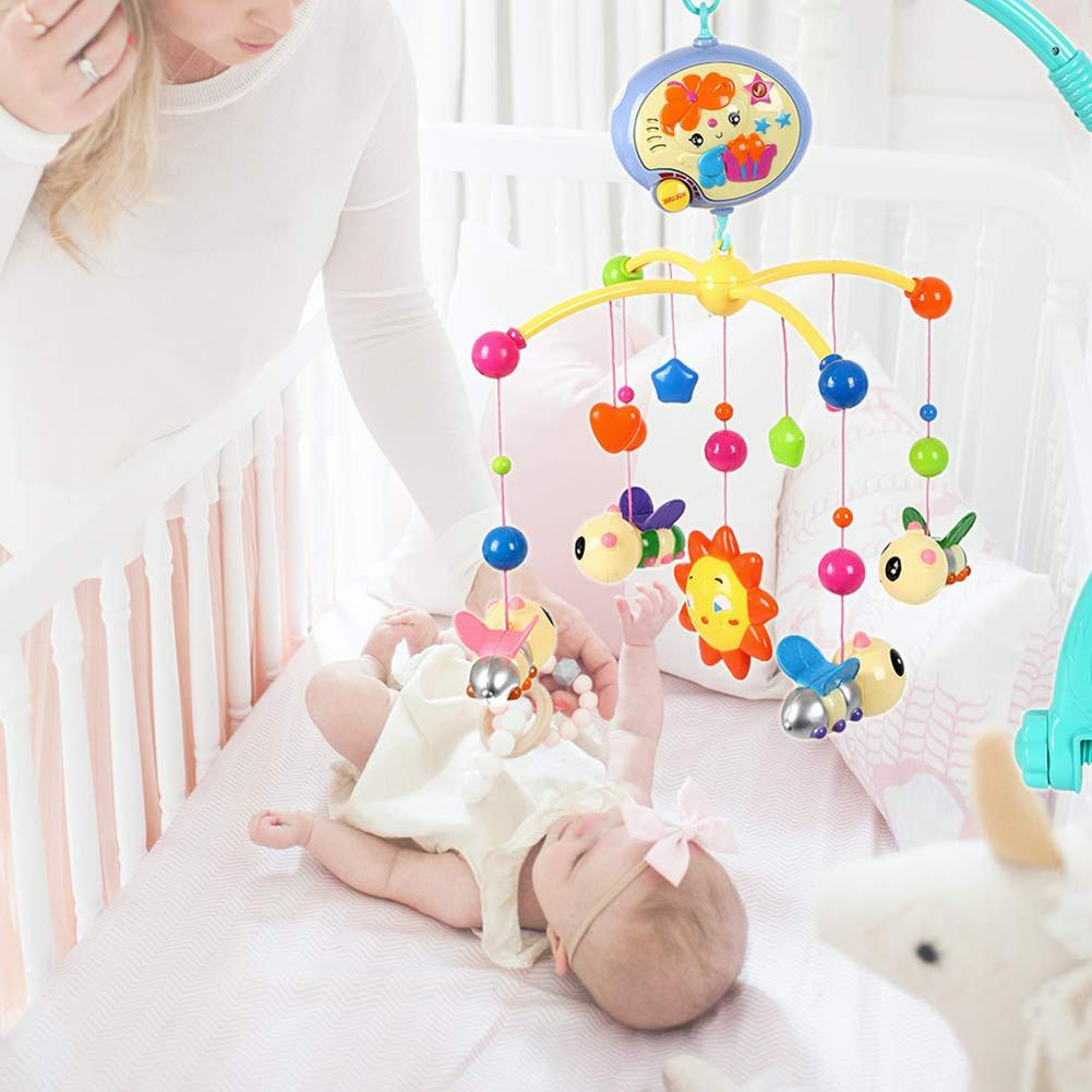 Newborn Baby Musical Rattles Crib Bed Cot Mobile Bee Animal Pendants Nusery Lullaby Toy 360 Degree Rotary